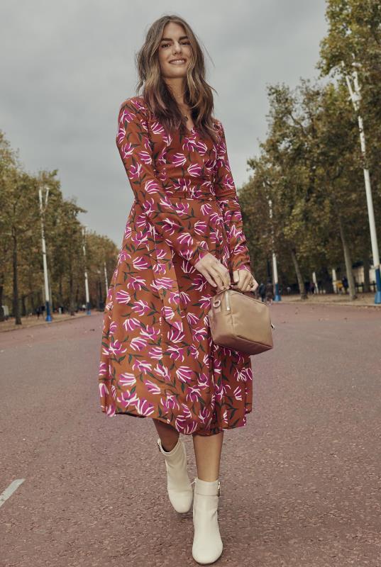 Brown Floral Print Wrap Midi Dress