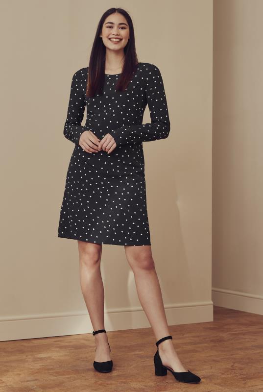 Black Spot Print Shift Dress