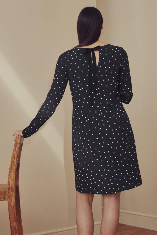 Black Spot Print Shift Dress