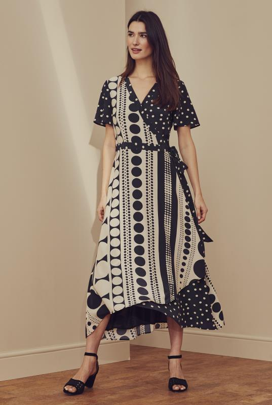 Black Spot Print Midi Wrap Dress