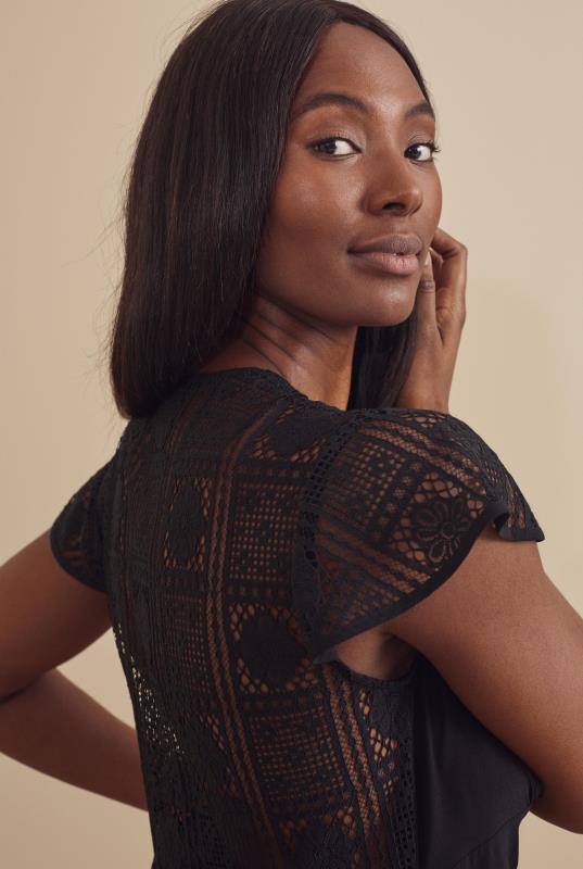 Tall Aline Dress Black Lace Mix Empire Waist Dress