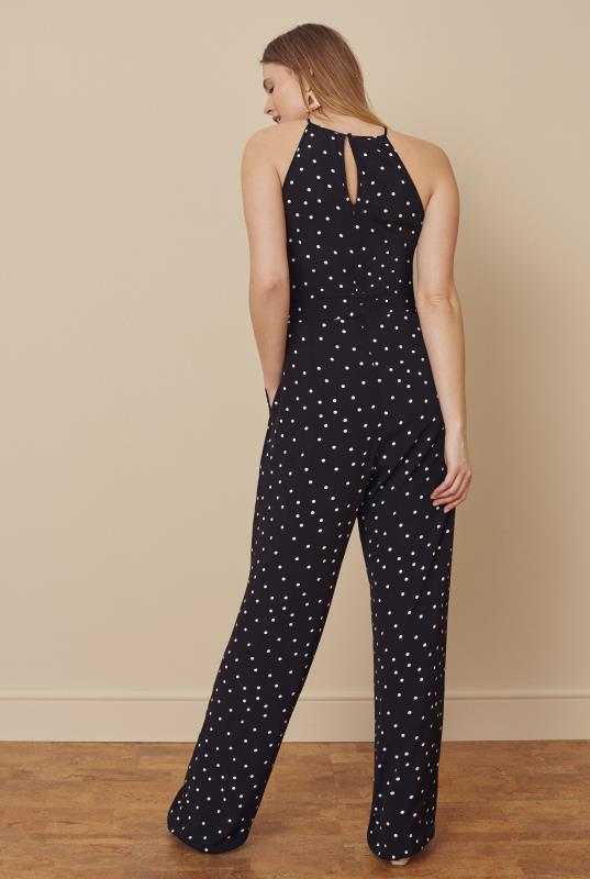 Black & White Printed Sleeveless Belted Jumpsuit