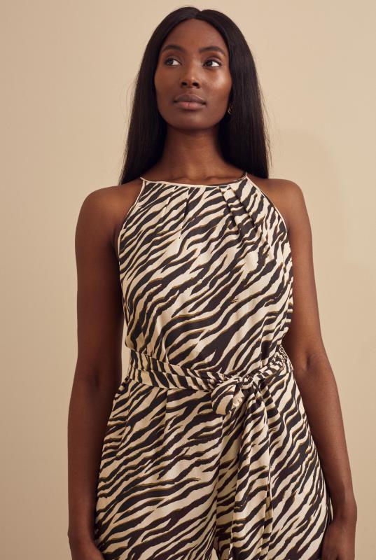 Tall Jumpsuits Stone Zebra Print Wide Leg Jumpsuit