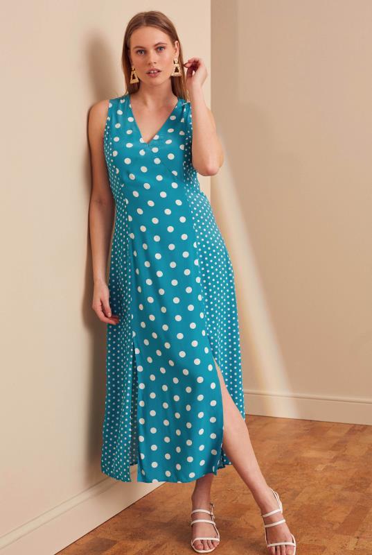 Blue Mix Spot Print Midi Dress