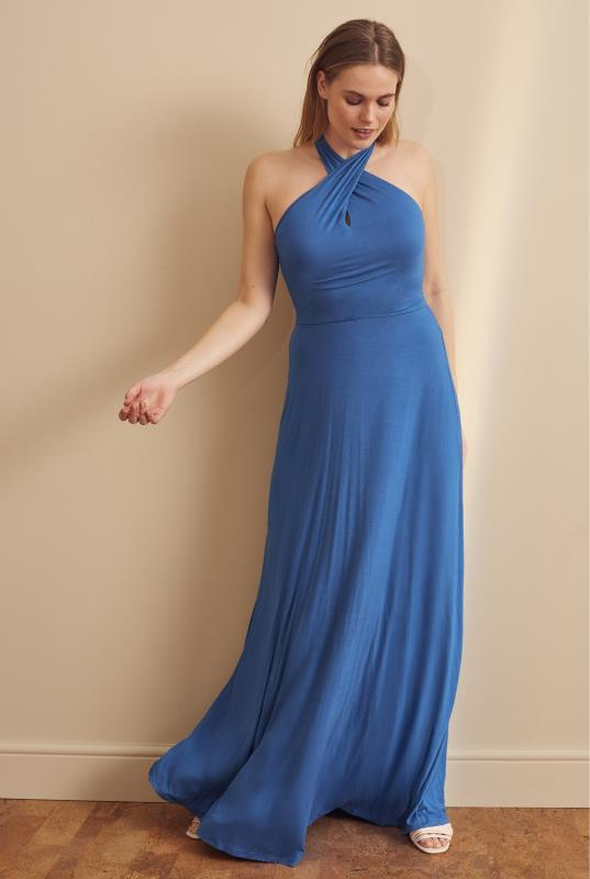 Tall  Blue Premium Halterneck Maxi Dress