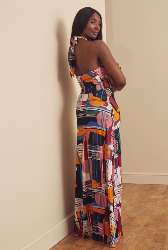 Tall  Pink & Multi Abstract Print Premium Halterneck Maxi Dress