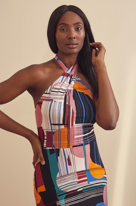 Pink & Multi Abstract Print Premium Halterneck Maxi Dress