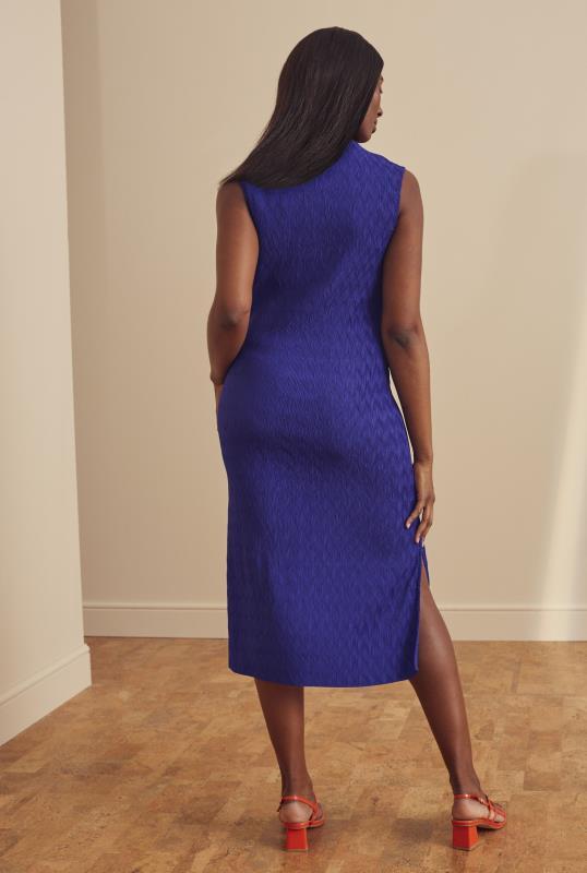 Blue Plisse Sleeveless Midi Dress