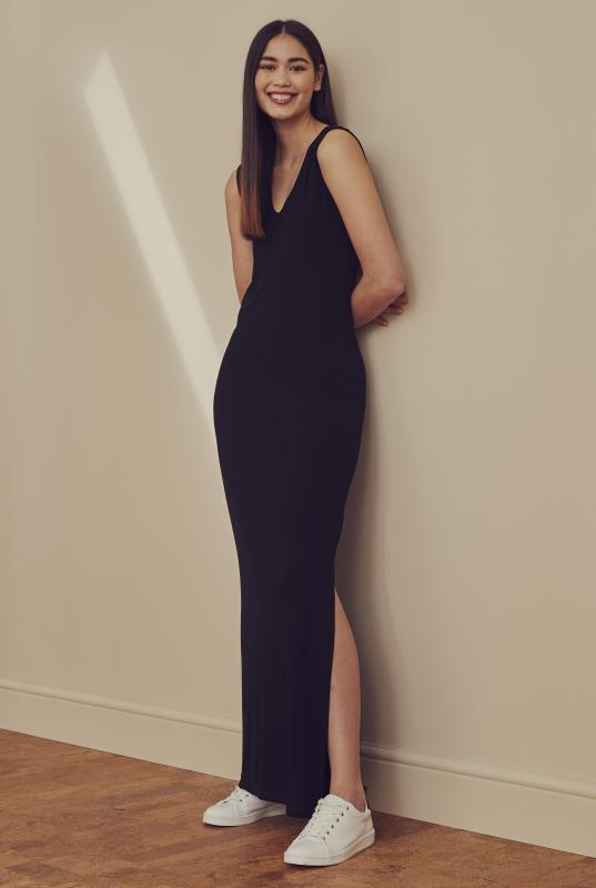 Tall Bodycon Dress Black Side Split Jersey Maxi Dress