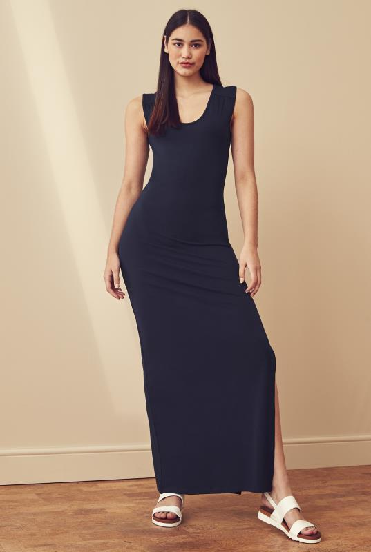 Navy Side Split Jersey Maxi Dress