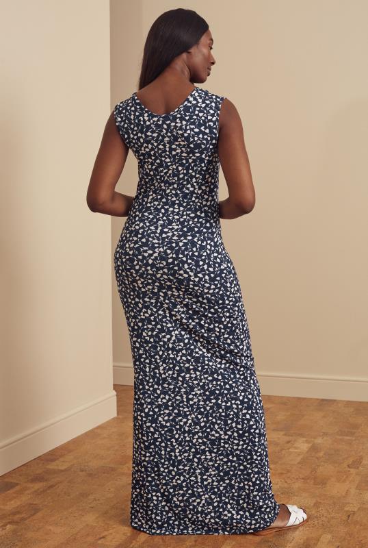 Navy Ditsy Floral Jersey Maxi Dress