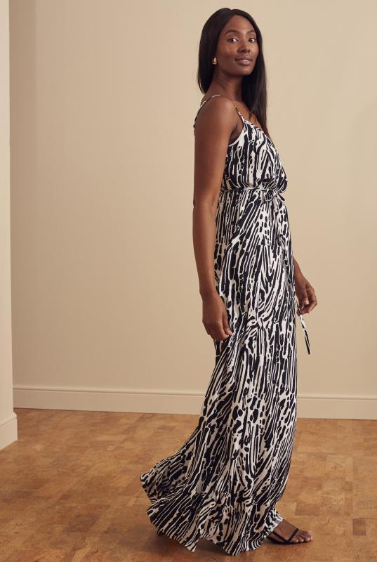 Tall Straight Dress Black & White Printed Maxi Dress