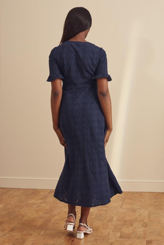 Navy Broderie Fit and Flare Dress
