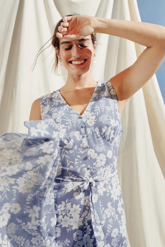 Tall Straight Dress Floral Print Button Through Tiered Dress