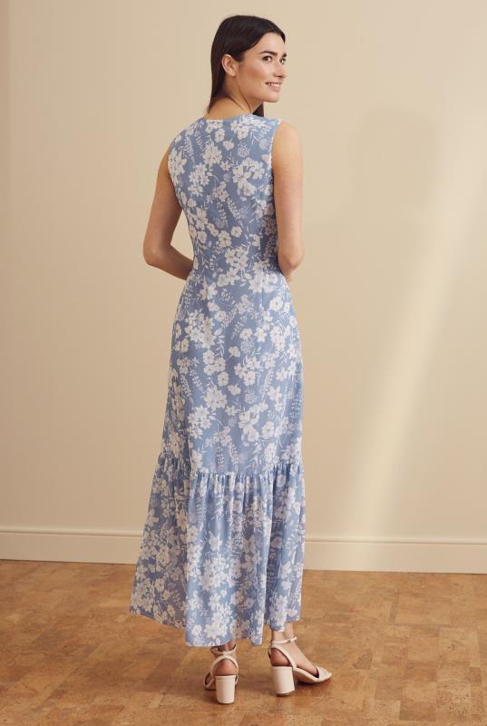 Floral Print Button Through Tiered Dress