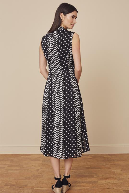 Black & White Sleeveless Spot Print Shirt Dress