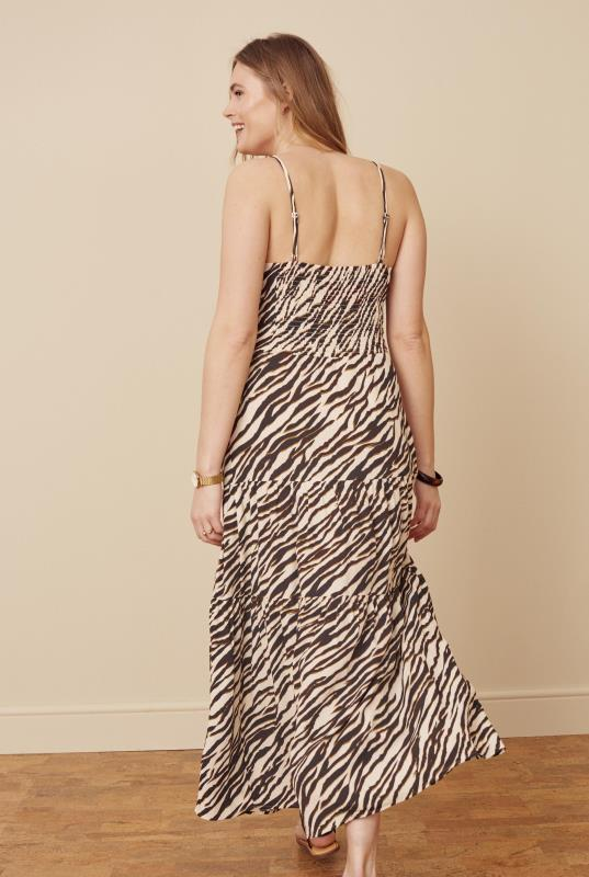 Neutral Animal Print Tiered Shirred Back Summer Dress
