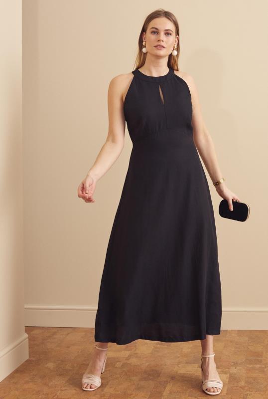 Black Linen Blend Keyhole Maxi Dress