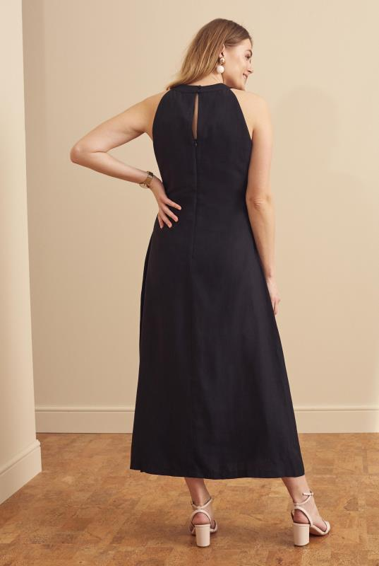 Black Linen Blend Keyhole Maxi Dress