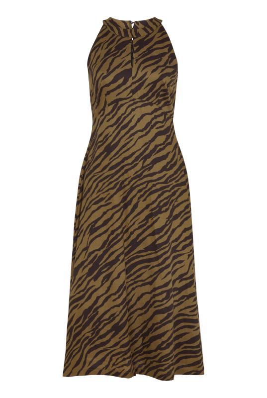 Brown Animal Print Linen Blend Keyhole Dress_4.jpg