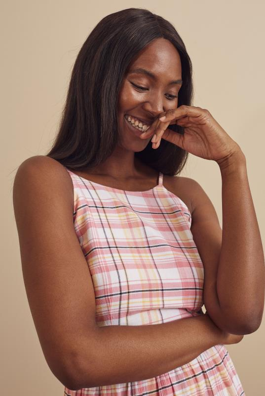 Pink Checked Tiered Cotton Summer Dress