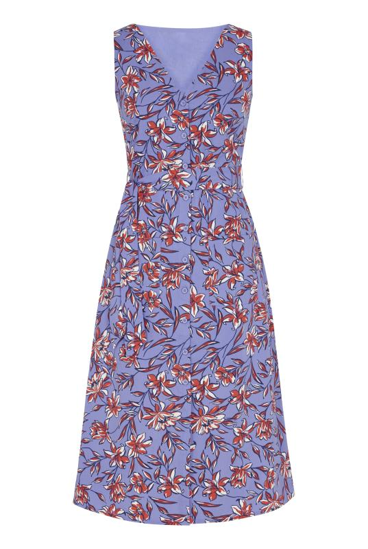 Tall Aline Dress Blue Floral Cotton Fit And Flare Dress