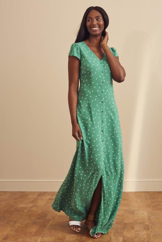 Green Spot Print Button Through Maxi Dress