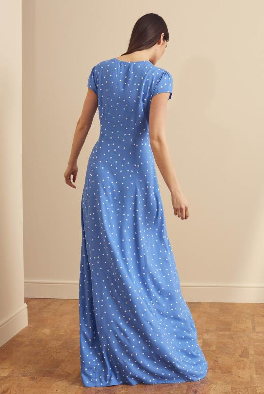 Blue Spot Print Button Through Maxi Dress