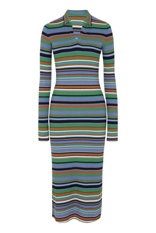 Navy & Green Ribbed Stripe Collared Dress