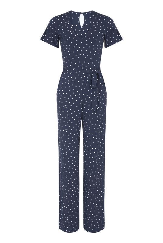 Navy Spot Print Wide Leg Jumpsuit