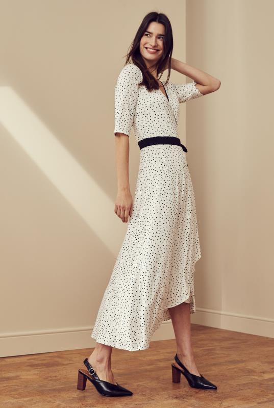 White Polka Dot Wrap Dress