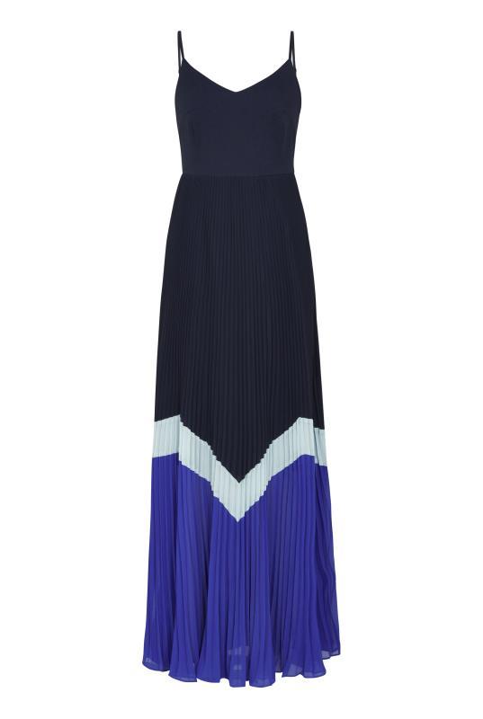 Navy Colour Block Pleated Maxi Dress