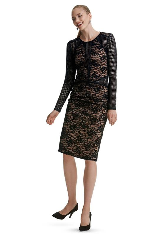 Black Eyelet Lace Mix Bodycon Dress