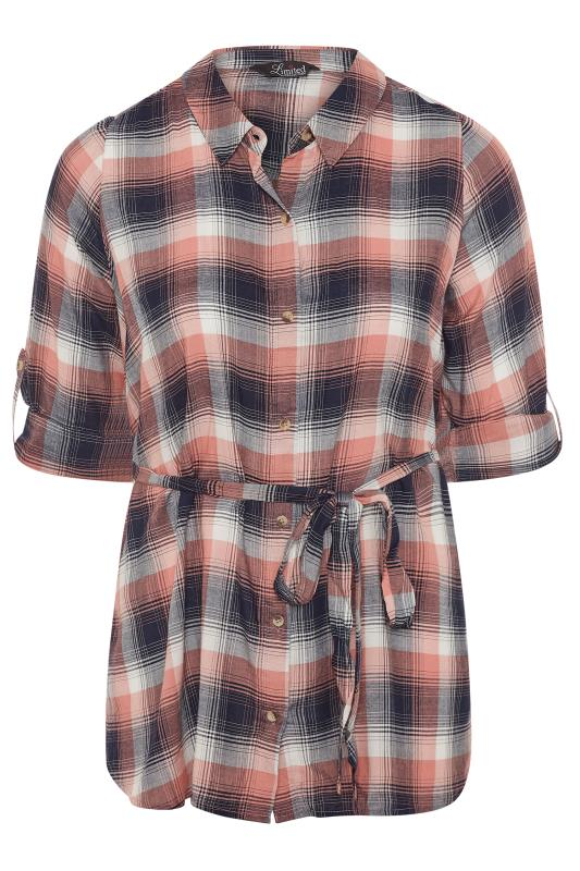 LIMITED COLLECTION Pink & Navy Belted Check Shirt