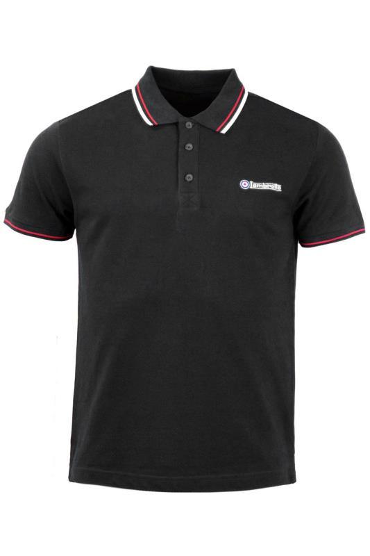 Plus Size  LAMBRETTA Black Contrast Tipped Polo Shirt