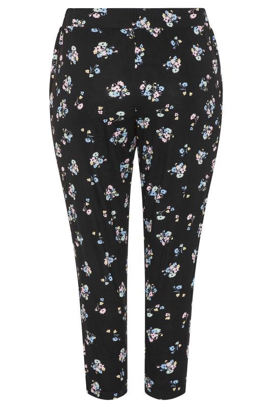 Plus Size  Black Pastel Floral Print Pleated Harem Trousers