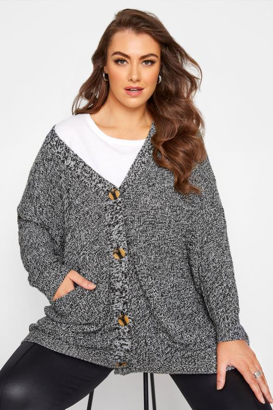 Grey Mono Button Knitted Cardigan_A.jpg