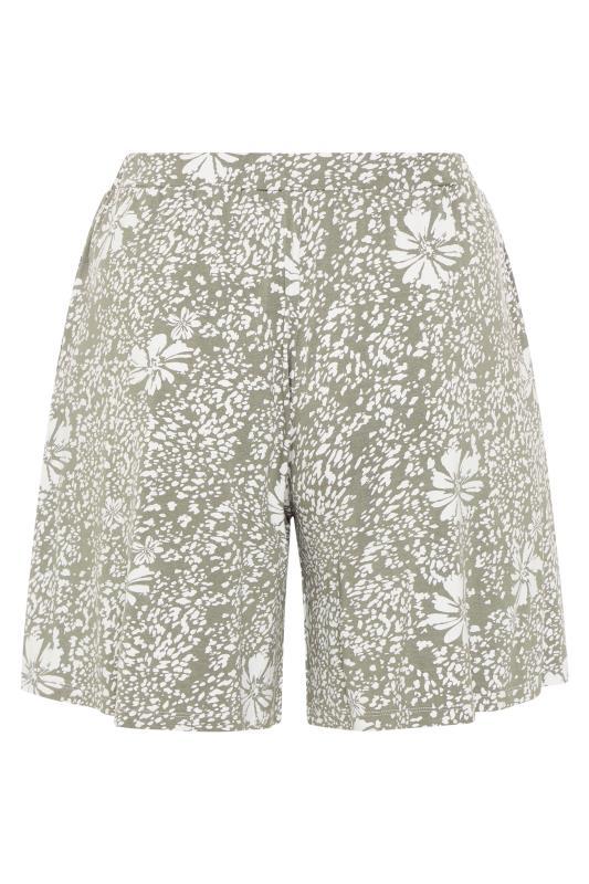 Sage Green Floral Animal Print Jersey Harem Shorts_BK.jpg