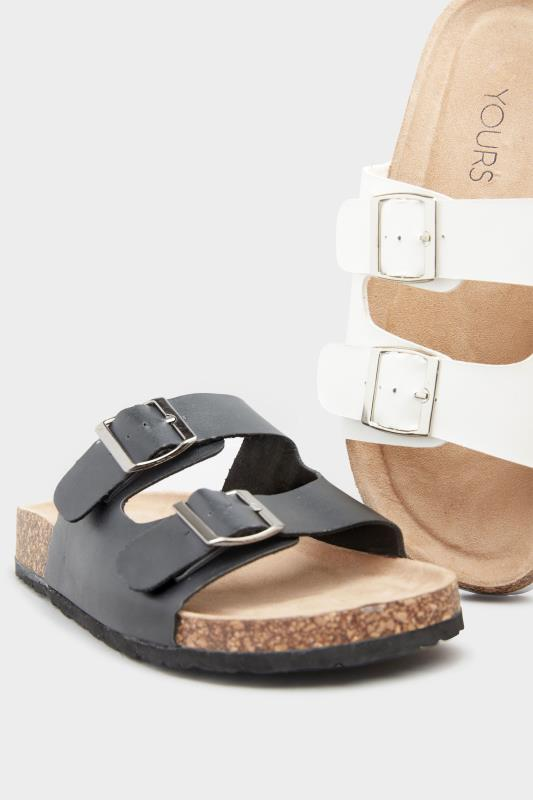 White Buckle Strap Footbed Sandals In Extra Wide Fit_E.jpg