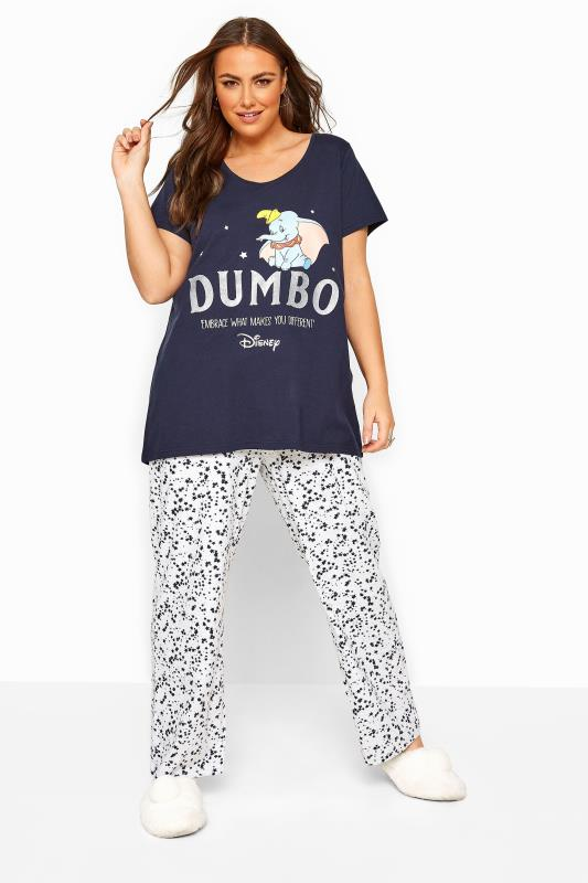 Plus Size  Navy Disney Dumbo Pyjama Set