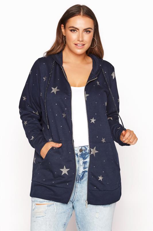 Plus Size  Navy Star Print Zip Through Hoodie
