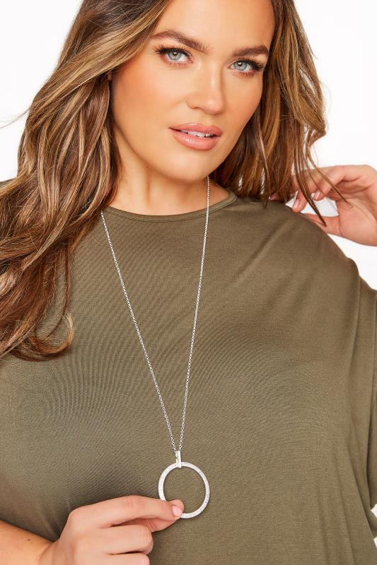 Plus Size  Silver Diamante Circle Long Necklace