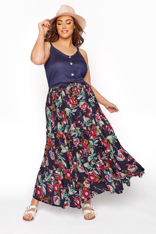 Maxi Skirts Navy Floral Crinkle Tiered Maxi Skirt