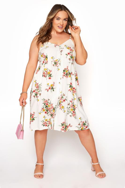 White Floral Button Front Cami Dress