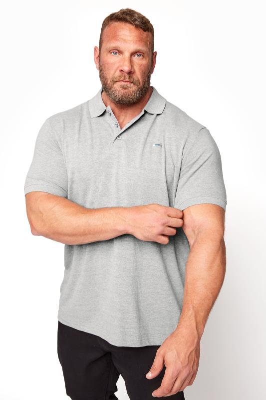 Men's  BadRhino Grey Marl Essential Polo Shirt