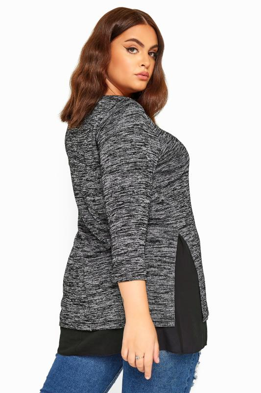 Grey Marl Double Layer Knitted Top