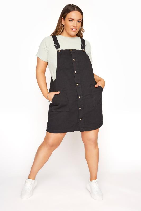Plus Size  LIMITED COLLECTION Black Button Front Pinafore Dress