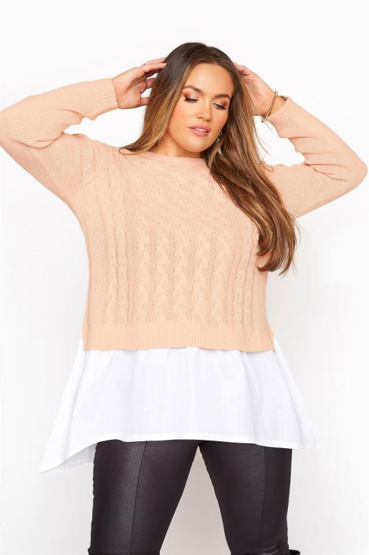 Plus Size  Light Pink 2 In 1 Poplin Hem Cable Knitted Jumper