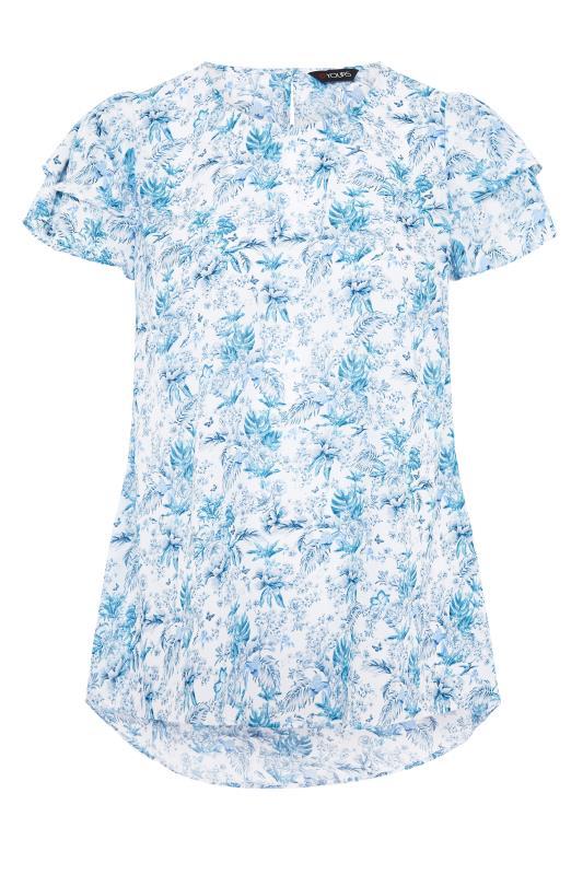 White Tropical Floral Print Dipped Hem Blouse_F.jpg