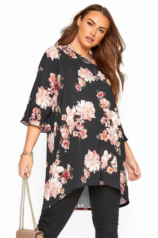 Plus Size Blouses Black Floral Print Dipped Hem Tunic